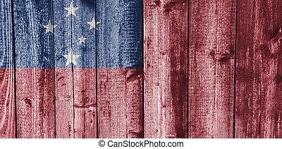 bandiera, legno,  Samoa, alterato
