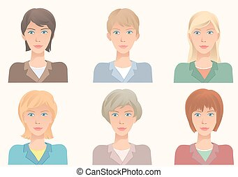 The same face with different hairstyles. Vector illustration avatars.
