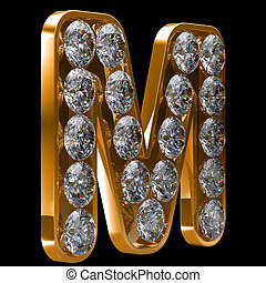Golden M letter incrusted with diamonds