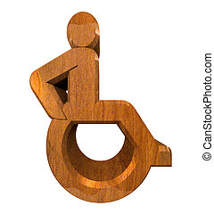 Universal wheelchair symbol in wood 3d - Universal...