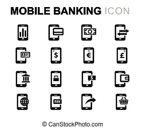 Vector line mobile banking icons set on white background