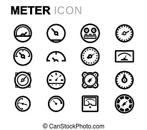 Vector line meter icons set on white background