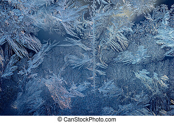 Hoarfrost on window - Abstract ice pattern on window in...