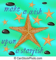 Orange Starfish and Stones Poster