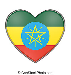 Ethiopia heart - 3d rendering of an Ethiopia flag on a...