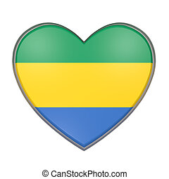 Gabon heart - 3d rendering of a Gabon flag on a heart. White...