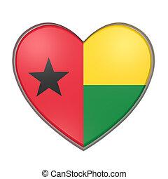 Guinea-Bissau heart - 3d rendering of a Guinea-Bissau flag...