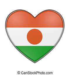Niger heart - 3d rendering of a Niger flag on a heart. White...