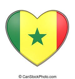 Senegal heart - 3d rendering of a Senegal flag on a heart....
