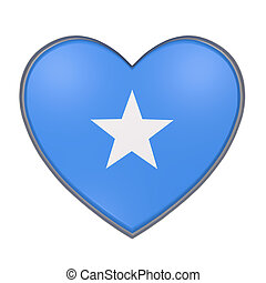 Somalia heart - 3d rendering of a Somalia flag on a heart....