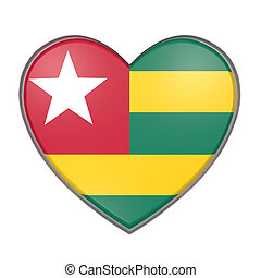 Togo heart - 3d rendering of a Togo flag on a heart. White...