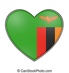 Zambia heart - 3d rendering of a Zambia flag on a heart....