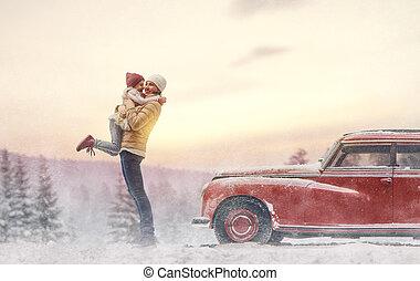 Mother, child and vintage car - Toward adventure! Happy...