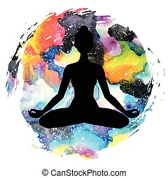 Women silhouette. Yoga lotus pose. Padmasana. - Women...