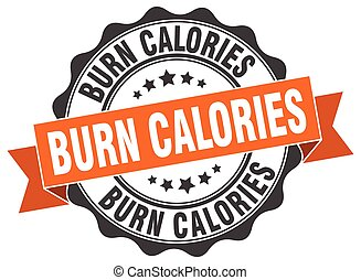 burn calories stamp. sign. seal