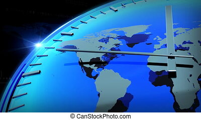 WORLD MAP AND BLUE CLOCK