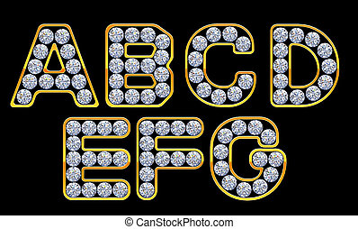 A-G letters incrusted with diamonds - A, B, C, D, E, F, G...