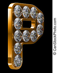 Golden P letter incrusted with diamonds