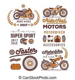motorbike logos set,