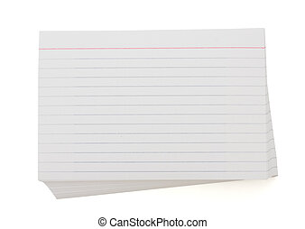 Stack of index cards - A blank stack of index cards with...
