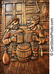 drinking - funny story about drinking carved on a tree