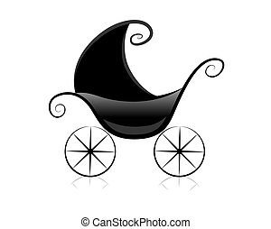 Pram - Black and White Series: Pram with Clipping Path