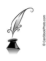 Quill - Black and White Series: Quill with Clipping Path