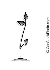 Sprout - Black and White Series: Sprout with Clipping Path