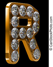 Golden R letter incrusted with diamonds. Other characters...