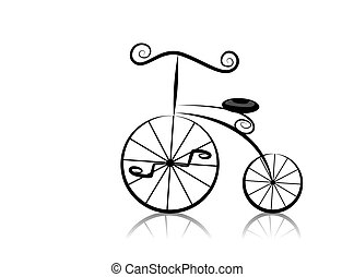 Retro Bicycle - Black and White Series: Retro Bicycle with...