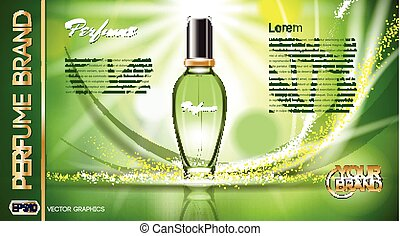 Digital vector green glass perfume for women container...