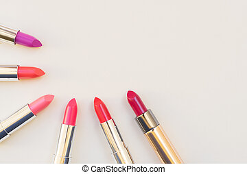 Collection of lipsticks - Collection of puple, pink and red...