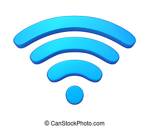 Wireless Network Symbol isolated on white background. 3D...