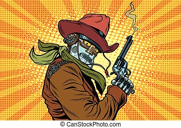 Steampunk robot cowboy with Smoking after firing a revolver,...