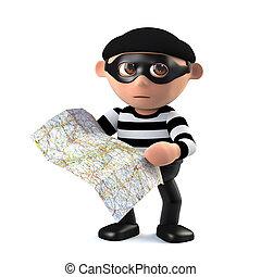 3d Burglar plans his getaway - 3d render of a burglar...
