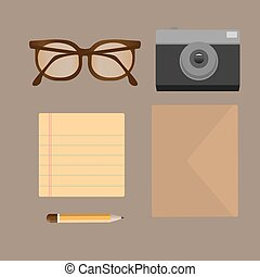 Vector flat set of modern stuff and devices.