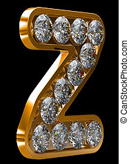 Golden z letter incrusted with diamonds. Other characters...