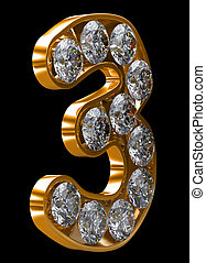 Golden 3 numeral incrusted with diamonds Other numbers are...