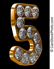 Golden 5 numeral incrusted with diamonds