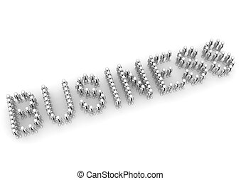 BUSINESS word formed by crowd - 3d characters isolated on...