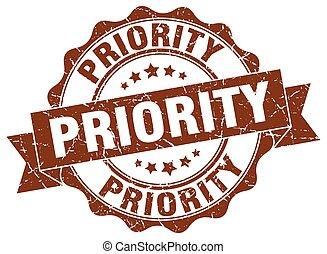 priority stamp. sign. seal