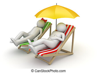 Couple on beach chairs - 3d characters isolated on white...