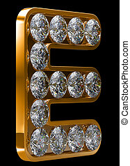Golden E letter incrusted with diamonds