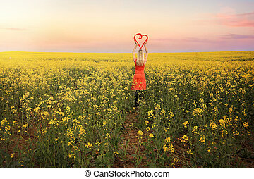 Woman in Canola Fields in Young Country NSW - Loving...