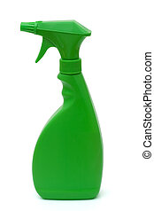 Eco Friendly cleaning supplies isolated on white, Spring...