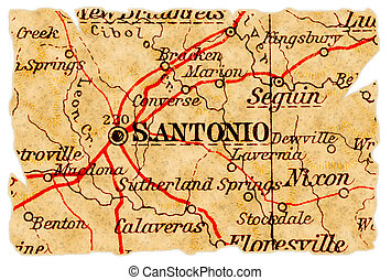 San Antonio old map - San Antonio, Texas on an old torn map...