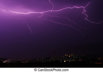 Amazing lightning over a city at night