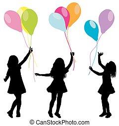 balões, silhuetas, meninas