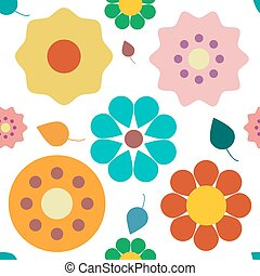 Flowers Seamless Pattern. Colorful Vector Retro Plant Background.