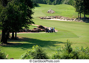 golfers on course in georgia - Senior golfers on course in...